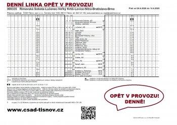 Medzinárodná linka Brno - Rimavská Sobota obnovila svoje autobusové spojenie